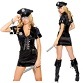 Policewoman Costume Woman Cosplay Uniforms Adult Halloween Costume Free Size Roleplay Costume Black Sexy Fashion Cosplay Suit