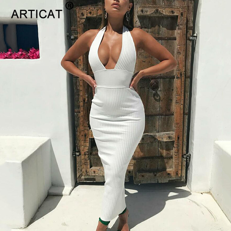 Articat Halter Backless Sexy Knitted Pencil Dress Women White Off Shoulder Long Bodycon Party Dress Elegant Summer Dress 19 3