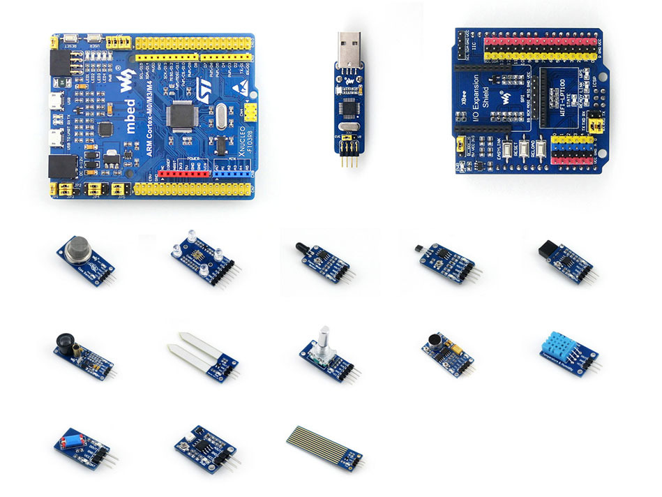 Modules STM32 STM32F103RBT6 ARM Cortex M3 Development Board Compatible with NUCLEO-F103RB + Sensors Pack + IO Expansion Shield modules genuine for intel galileo gen 2 development board quark soc x1000 400mhz 256m compatible with arduino uno r3 shield