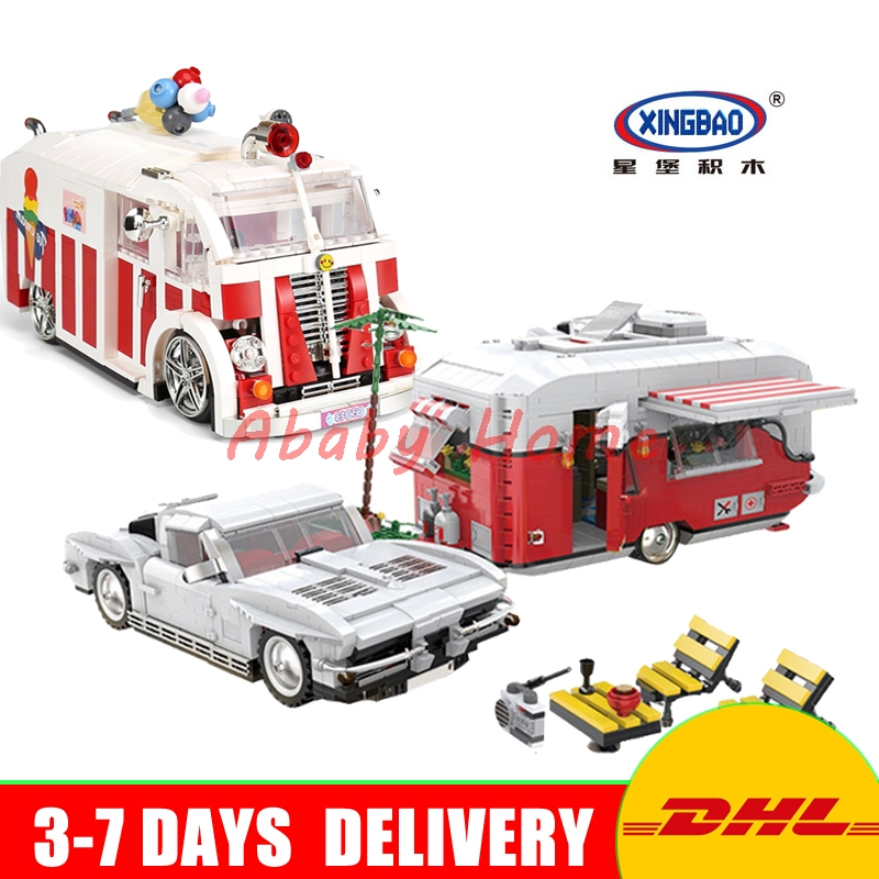 DHL XingBao 08003 Dream Touring Car+ 08004 Ice Cream Car Set Education Building Blocks Bricks Model Toys Lepin lego education 9689 простые механизмы