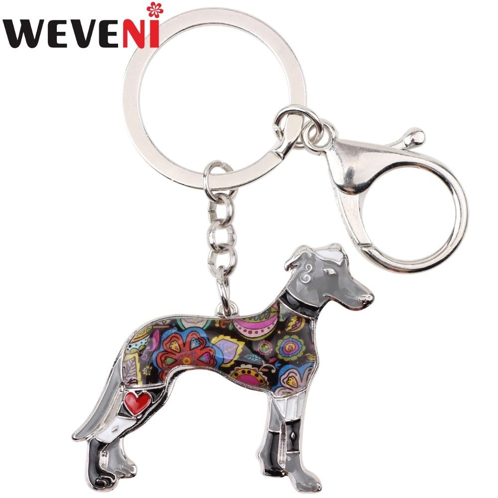 WEVENI Enamel Alloy Galgos Greyhound Dog Key Chain Key Ring Bag Charm New Fashion Jewelry For Women Man Car Keychain Accessories