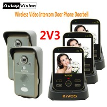 KDB302A 2v3 wireless intercom video doorbell smart interphone video door phone with 2 cameras 3 monitors Talk to Each Other