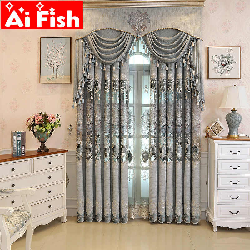 European Luxury New Gray Curtains for Living Dining Room Bedroom Fabric Chenille Embroidery Curtain Fabric Custom M029-40