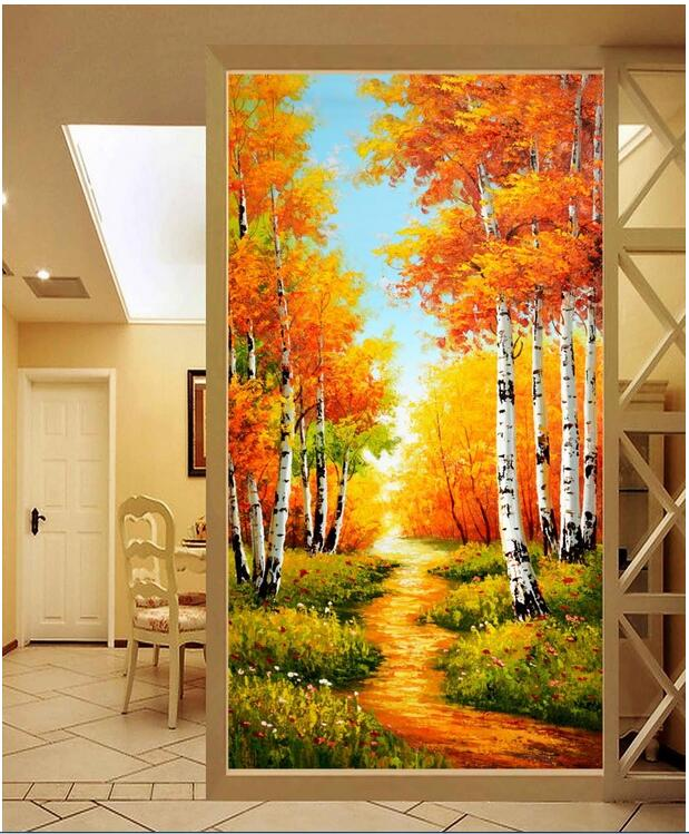 3d wallpaper custom photo non-woven mural Birch tree-lined trail autumn porch painting picture 3d walls room murals wallpaper  free shipping european 3d relief murals aisle porch corridor classical style wallpaper rich tree rose vase mural