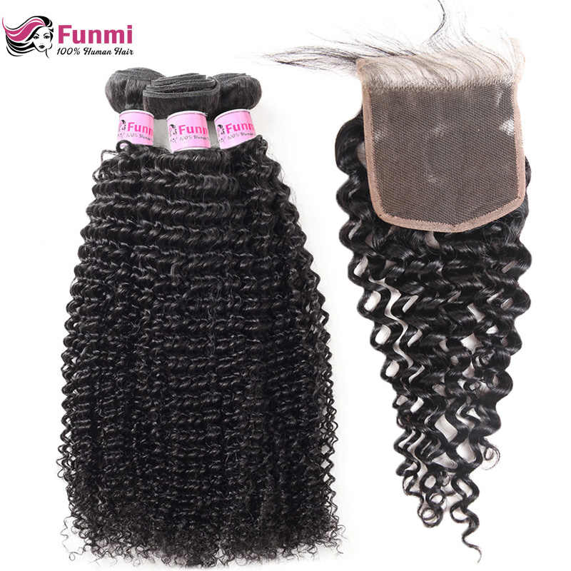 Kinky Curly Virgin Hair With Closure Malaysian Curly Human Hair Bundles With Closure Malaysian Curly Hair With Closure Funmi