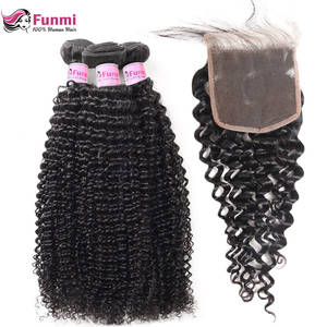 Funmi Virgin-Hair Closure with Malaysian Curly Human-Hair-Bundles Kinky