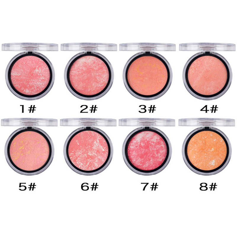 UBUB 1 Pcs Women Bronzer Blush Palette Whith Puff Face Makeup Baked Cheek Color Blusher Professional Paleta Ee Blush Brand