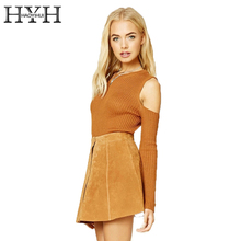 цена на HYH HAOYIHUI Solid Color Women Cold Shoulder Sweater Crew Neck Long Sleeve Sweater Sexy Casual Style Ladies Pullover