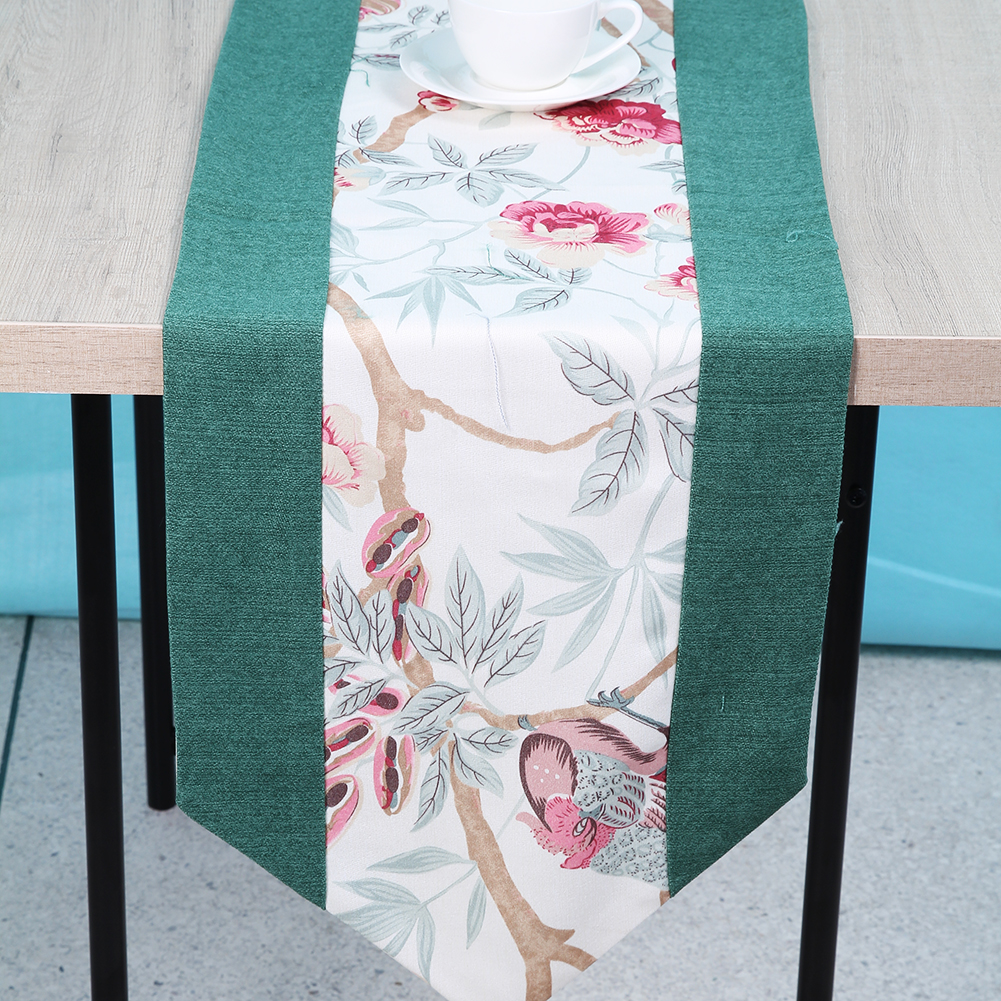 Modern Table Runner Flower Polyester Jacquard Runner Table Cloth With Tassels Party Wedding Decoration Home Tablecloth