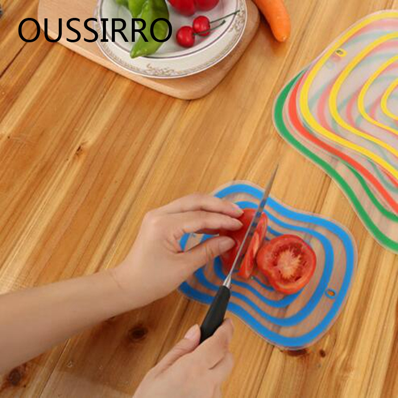 20CM*15CM Small Size Plastic Chopping Block Non-slip Frosted Anti-bacteria Cutting Board Block Vegetable Meat Tools Color Random