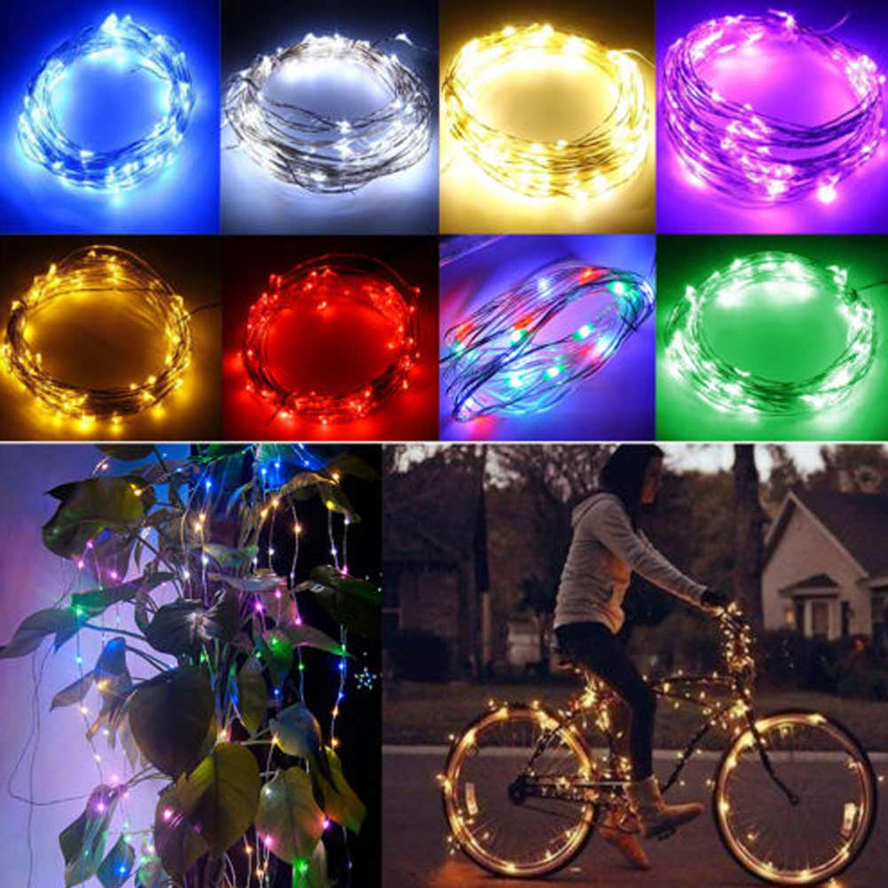 33ft/10m Copper Wire LED String Lights 100 LEDs Cool Warm White Blue ...
