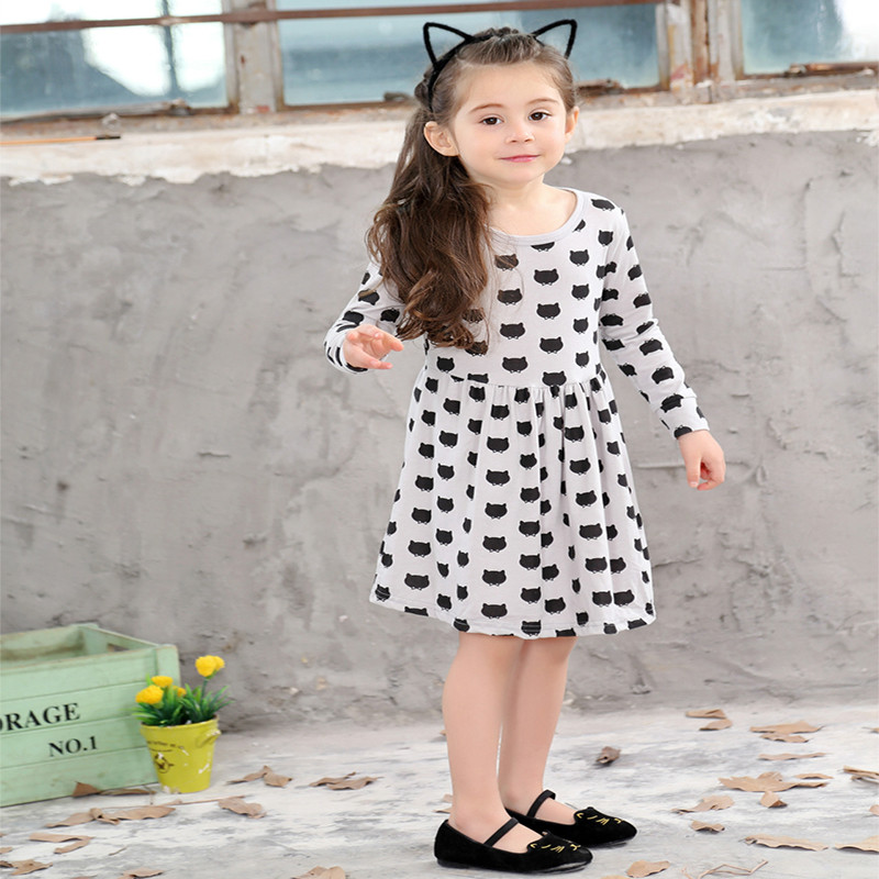Girls-black-dress-cartoon-long-sleeved-black-stamp-elastic-pleated-Zou-comfortable-dress-stitching-girl-dress-Cartoon-cat-dress-1