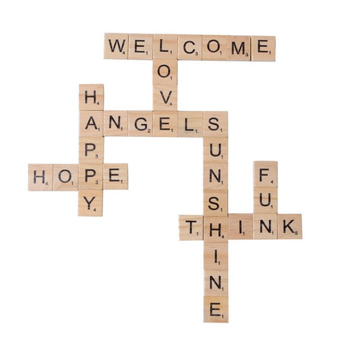 100Pcs/set Wooden Alphabet Letter Tiles Black Scrabble Letters For Crafts Wood Letter Alphabet Scrabbles Number English Words