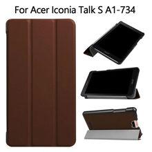 Iconia hablar s a1-734 filp pu leather case cubierta de 7 pulgadas fundas para acer iconia tablet pc inteligente conversaciones a1-734 soporte protector piel