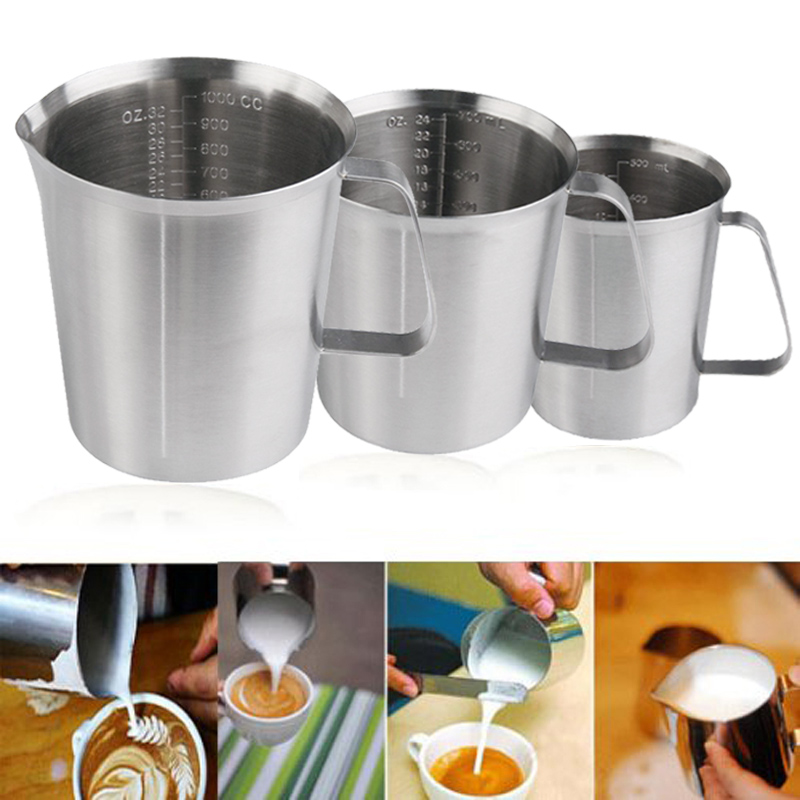 500ml 700ml 1000ml New Stainless Steel Cup Graduated Glass Liquid Measuring Cups E2shopping