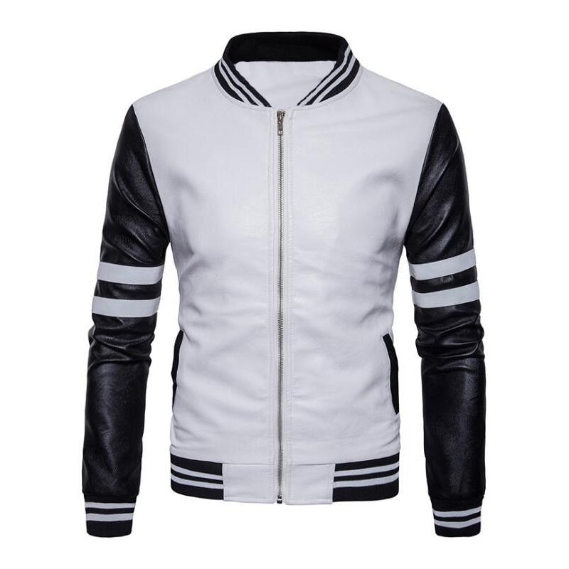 2018 Baseball Leather Jacket Men Black White College
