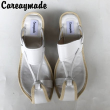 Careaymade-2019 New Summer Genuine Leather pure handmade Slipper,the retro art mori girl shoes,Women's Slipper,3 colors