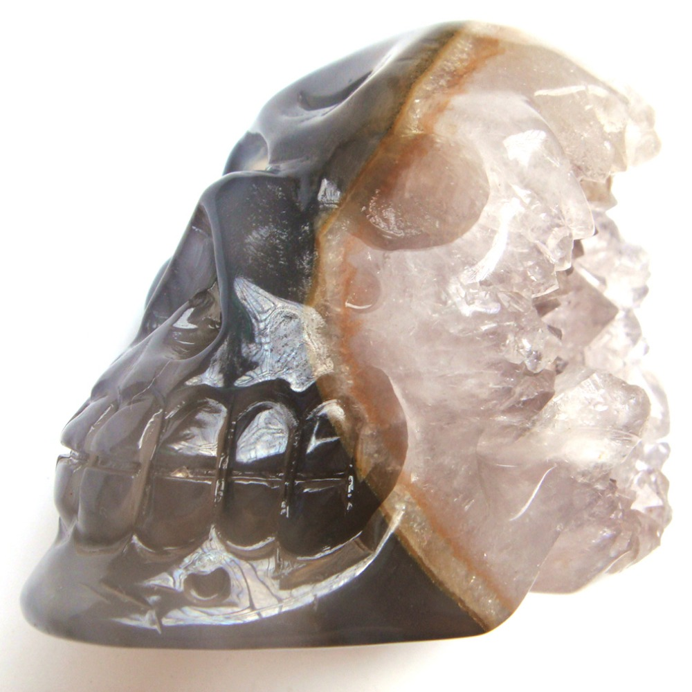 1 PC Carved Natural Agat Stone Geodes Crystals Skull Craft Healing exquisite gift or home decoration 3 ds07