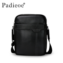 Padieoe Genuine Cow Leather Mens Bag for Male New Fashion Shoulder Messenger Bags Famous Brand Crossbody Bags