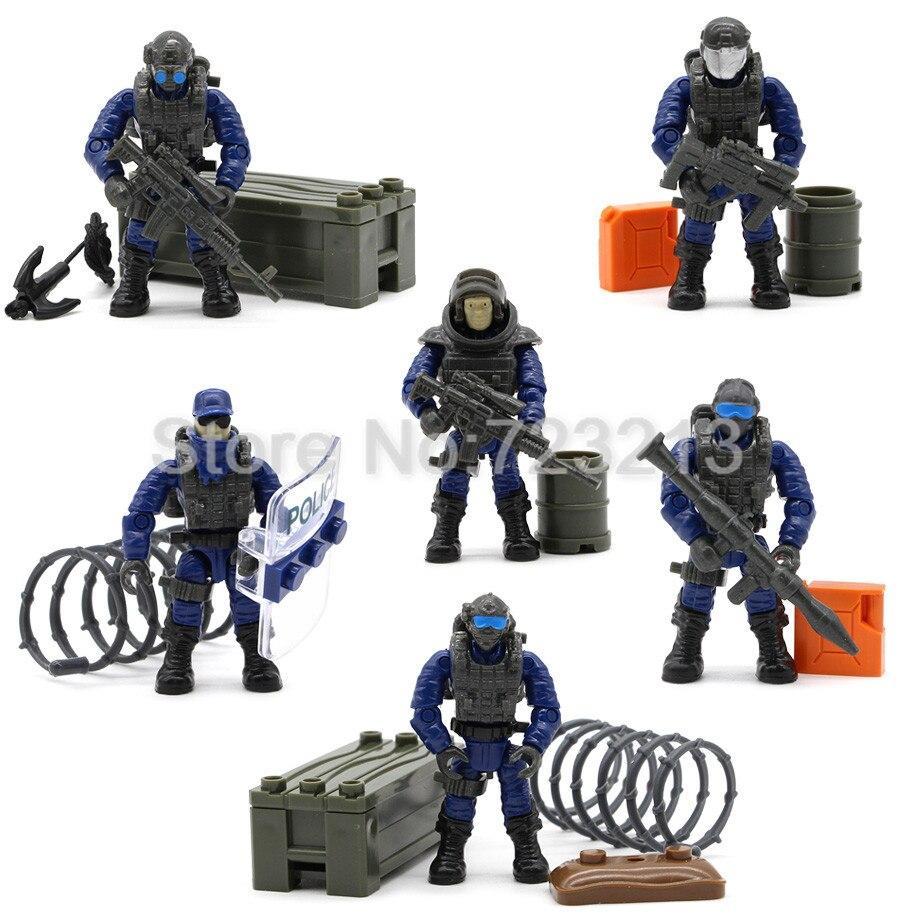 6 pcs Azione Militare Soldato Set Figura Giocattolo con Arma Assemblea di trasporto libero di Polizia Bambola Figurine Burattini di Costruzione di Modello Giocattoli