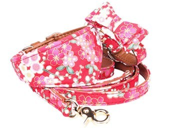 PU Leather Dog Collar Bow Flower Print Small Dog Leash Collar Bandana Outdoor Pet Walking Lead