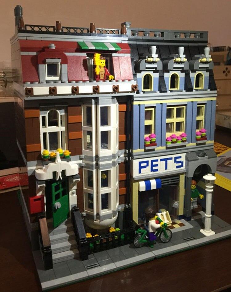 Oyuncaklar ve Hobi Ürünleri'ten Bloklar'de 15009 Streetview serisi Pet Mağaza Süpermarket Model Şehir Yapı Taşları Tuğla Eğitici Oyuncaklar Doğum Günü hediyeleri 10218'da  Grup 3