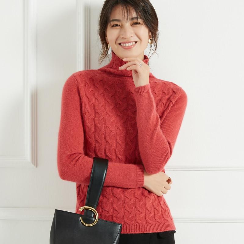 2019 épaississement col haut cachemire pull femmes pull cachemire pull manteau-in Pulls from Mode Femme et Accessoires    1