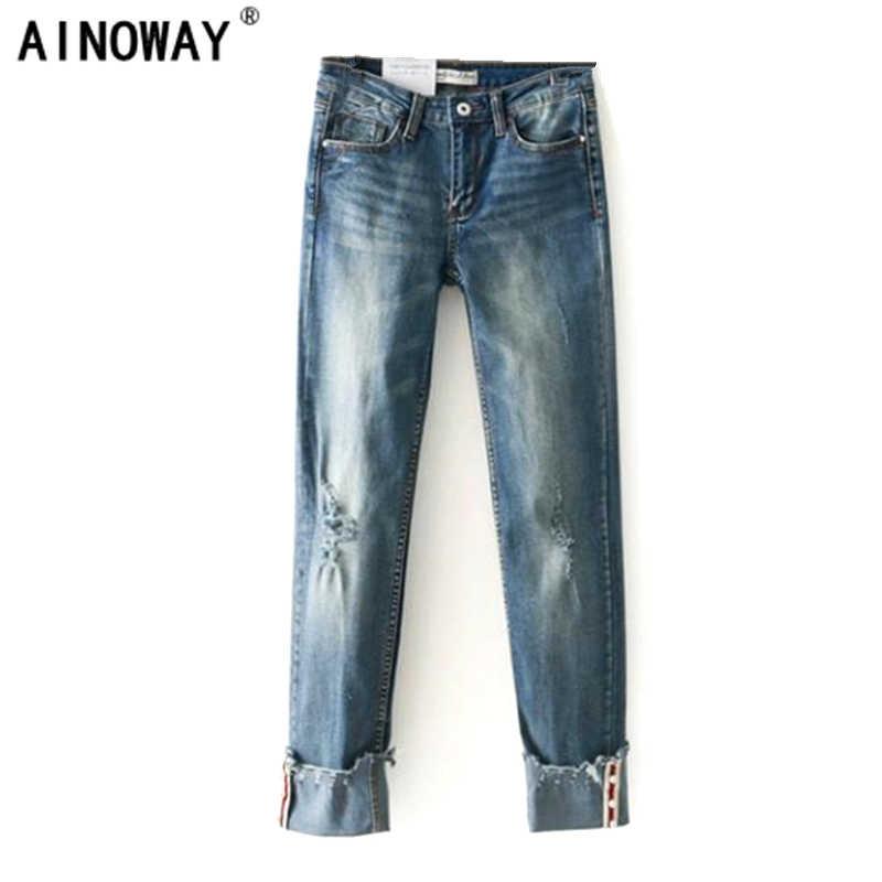 Detalle Comentarios Preguntas sobre Primavera de 2018 casuales de las  mujeres de cintura alta puños denim jeans novios slim vaqueros para Mujer  talla S m L ... 4669384b82e5