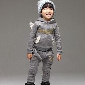 Image 4 - V TREE crianças conjunto de roupas de lã terno esportivo para o menino inverno ternos da criança para meninas asas crianças agasalho traje da escola do bebê