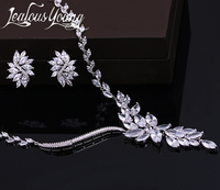 2017 New Wedding Costume Accessories Cubic Zircon Crystal Bridal Earrings And Necklace Jewelry Sets For Brides