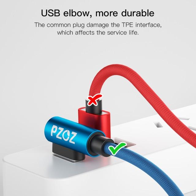 PZOZ Micro USB Câble 90 Degrés Microusb Charge Rapide cordon données Chargeur Pour Samsung Huawei Xiaomi Tablet usb micro tressé câble 2