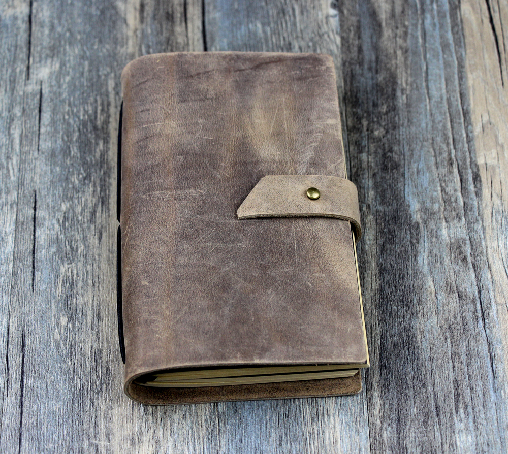 handmade Retro Traveler's Note Book black Genuine Leather Cowhide post-it on notes journal D0522 notes on camp