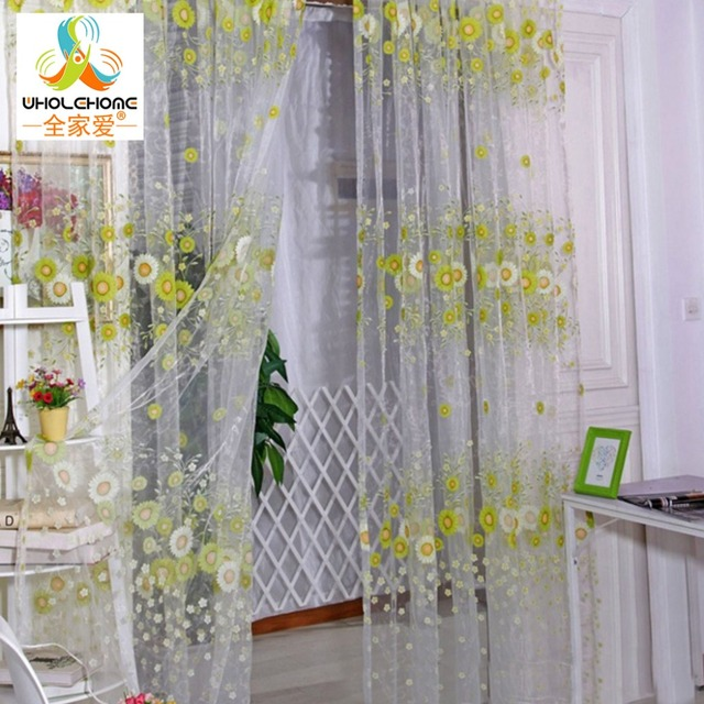 Floral Printed Window Curtain Fabric Living Room Transparent Sheer ...