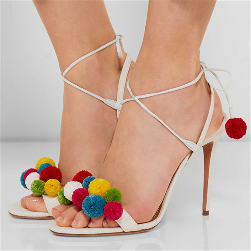 2016 New Fashion High Heels Runway Sandals Shoes Women Colored Wool Balls Lace Up Ankle Tied Gladiator Sandals Women Sandalias new fashion 2017 army green sandales talon femme lace up high heels party shoes women cross tied strappy gladiator sandals women