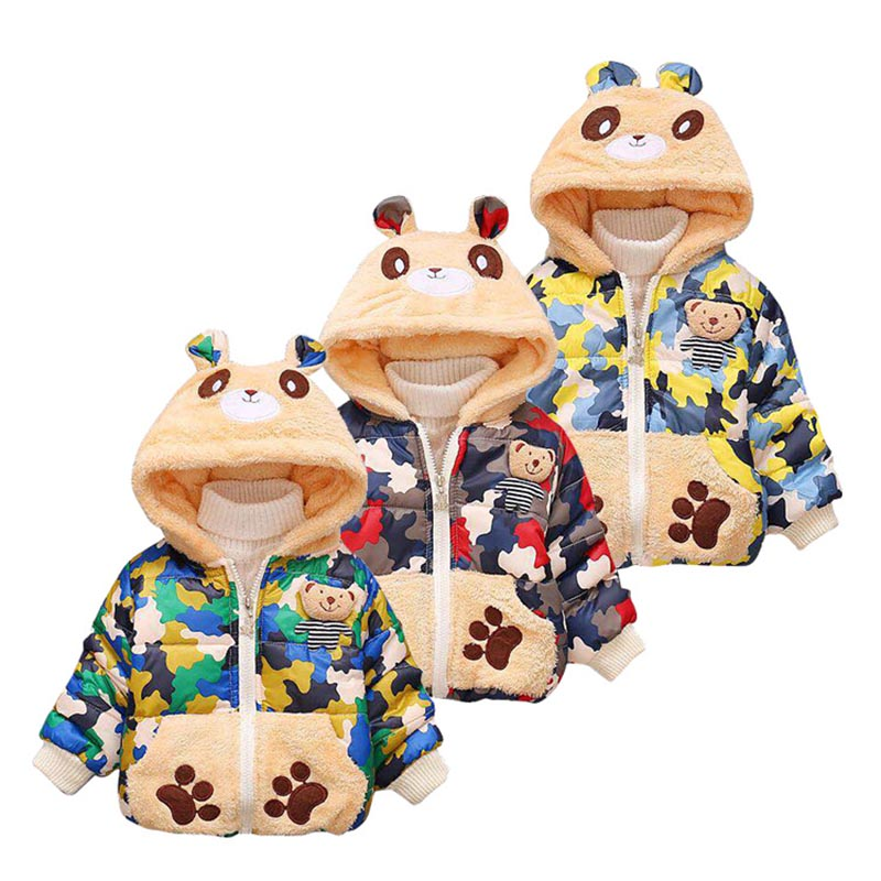 392f9198dc7fe Winter Children Boys Girls Jackets Cartoon Bear Clothing Coat Baby Girl  Thick Warm Casual Plush Outerwear