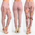 2017 Nova Primavera Mulheres Jeans Rosa Claro Holllow Fora Sensuais calças de Brim Das Mulheres Buraco Reta Longa Jeans Femme