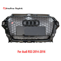 1PCS For Audi A3 S3 2014 2016 RS3 Style New Black Honeycomb Mesh Front Bumper Grille