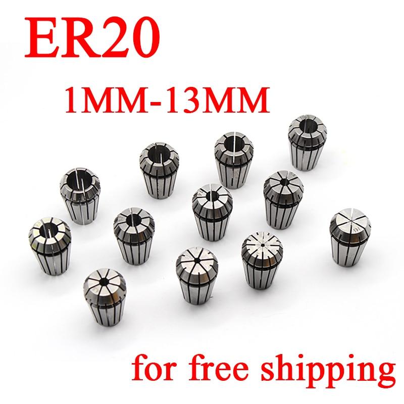 1PCS ER20 1-13MM Spring Collet Set CNC Workholding Engraving&Milling Lathe