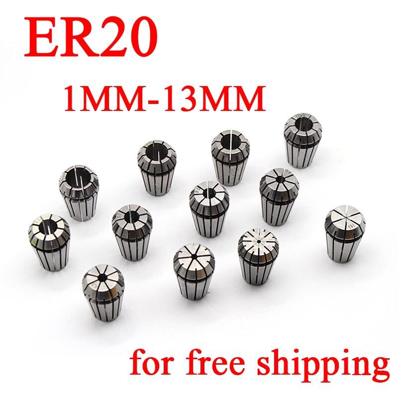 1PC ER20 1-13MM Spring Collet Set CNC Workholding Engraving&Milling Lathe 1PC ER20 1-13MM Spring Collet Set CNC Workholding Engraving&Milling Lathe