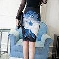 2017 Nuevas Mujeres de La Moda Oficina de la Impresión Floral Falda de Verano Mini lápiz Volver Dividir Faldas Venta Caliente Faldas Saia Midi Femme ZY2879