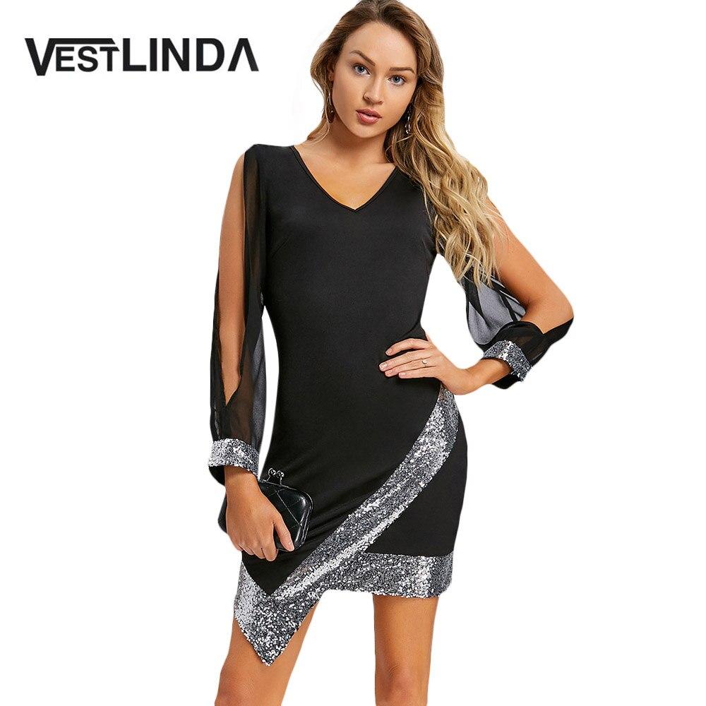 VESTLINDA Pailletten Kleid Frauen Schlitz Sleeve V-ausschnitt Chiffon Party Kleid Sommer 2018 Robe Femme Elegante Damen Schwarz Bodycon Kleid