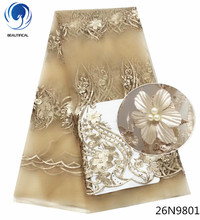 Beautifical gold french lace fabric african 3d wedding with beads flower pattern for dress 5yards 26N98