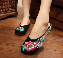 Slippers Sandals Canvas Old Beijing Peony Embroidery Cloth Shoes Spring Summer National Wind Women's Shoes SMYXHX-C0041