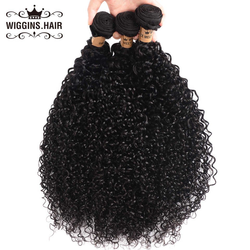 Wiggins Hair Malaysian Hair Bundles With Closure Kinky Curly Hair 3 Bundles With Closure Frontal 100% Remy Human Hair Bundles