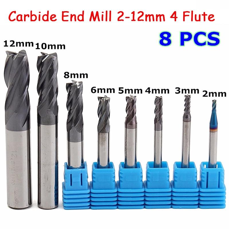 8 шт. 4 флейты твердосплавные мельницы набор 2-12 мм Вольфрам Сталь фреза инструменты фреза для ЧПУ mayitr