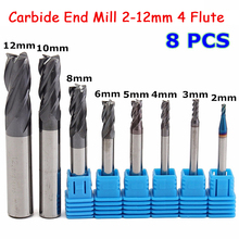 8pcs 4 Flutes Carbide End Mill Set 2-12mm Tungsten Steel Milling Cutter Tools Router Bit For CNC Machine Mayitr цены онлайн