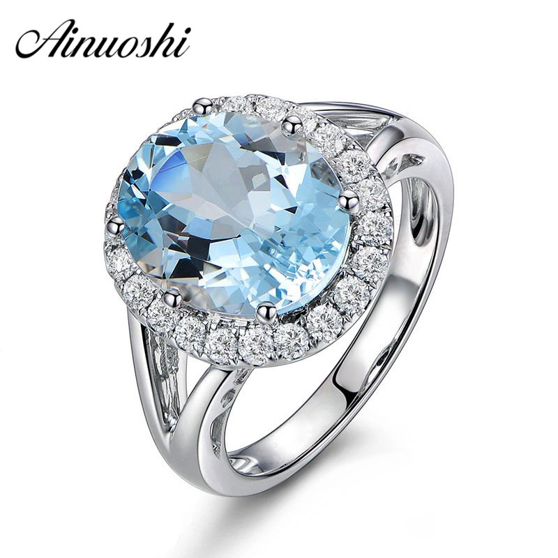AINUOSHI 3ct Oval Natural Sky Blue Gemston Topaz Ring Solid 925 Sterling Silver Halo Ring For