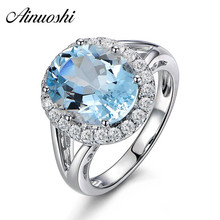 купить AINUOSHI 3ct Oval Natural Sky Blue Gemston Topaz Ring Solid 925 Sterling Silver Halo Ring For Women Charms Wedding Girls Jewelry дешево