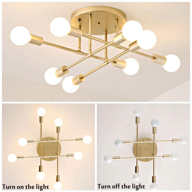 Smuxi 6/8 Head LED Industrial Iron Ceiling Light Living Room Ceiling Lighting Nordic 220V E27 Modern Simple LED Lamp