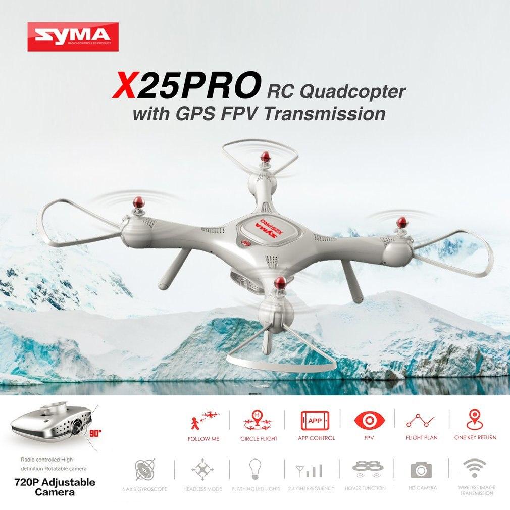 Syma zangão x25pro wifi fpv ajustável 720 p rc zangão com câmera quadcopter rtf gps posição altitude hold rc dron vs sg900 xs812